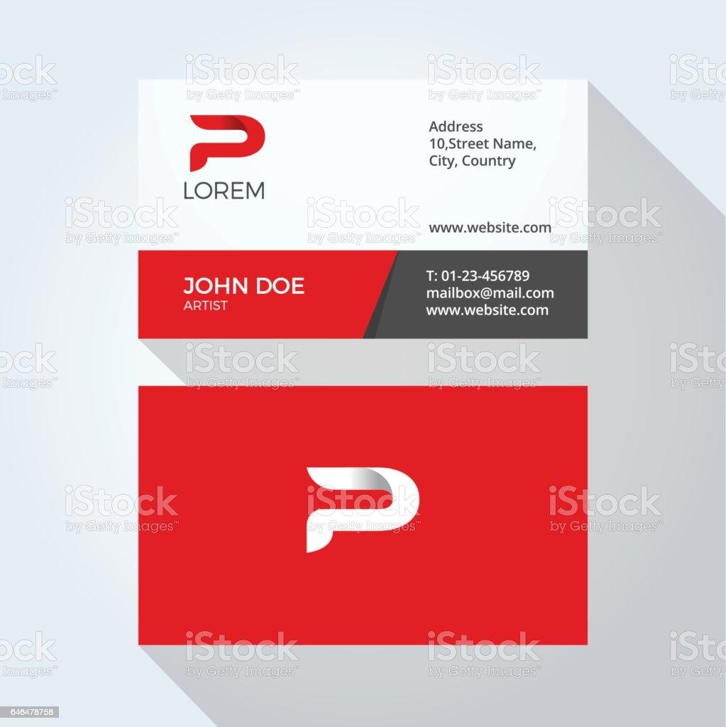 P Carta Logo moderno abstracto Simple. Plantilla de diseño de tarjetas corporativas - ilustración de arte vectorial