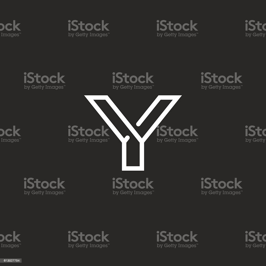 Y Letter Logo Monogram Mockup Black White Hipster Emblem Stock