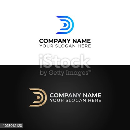 D letter logo template. Colorful vector design. Gold and silver version.