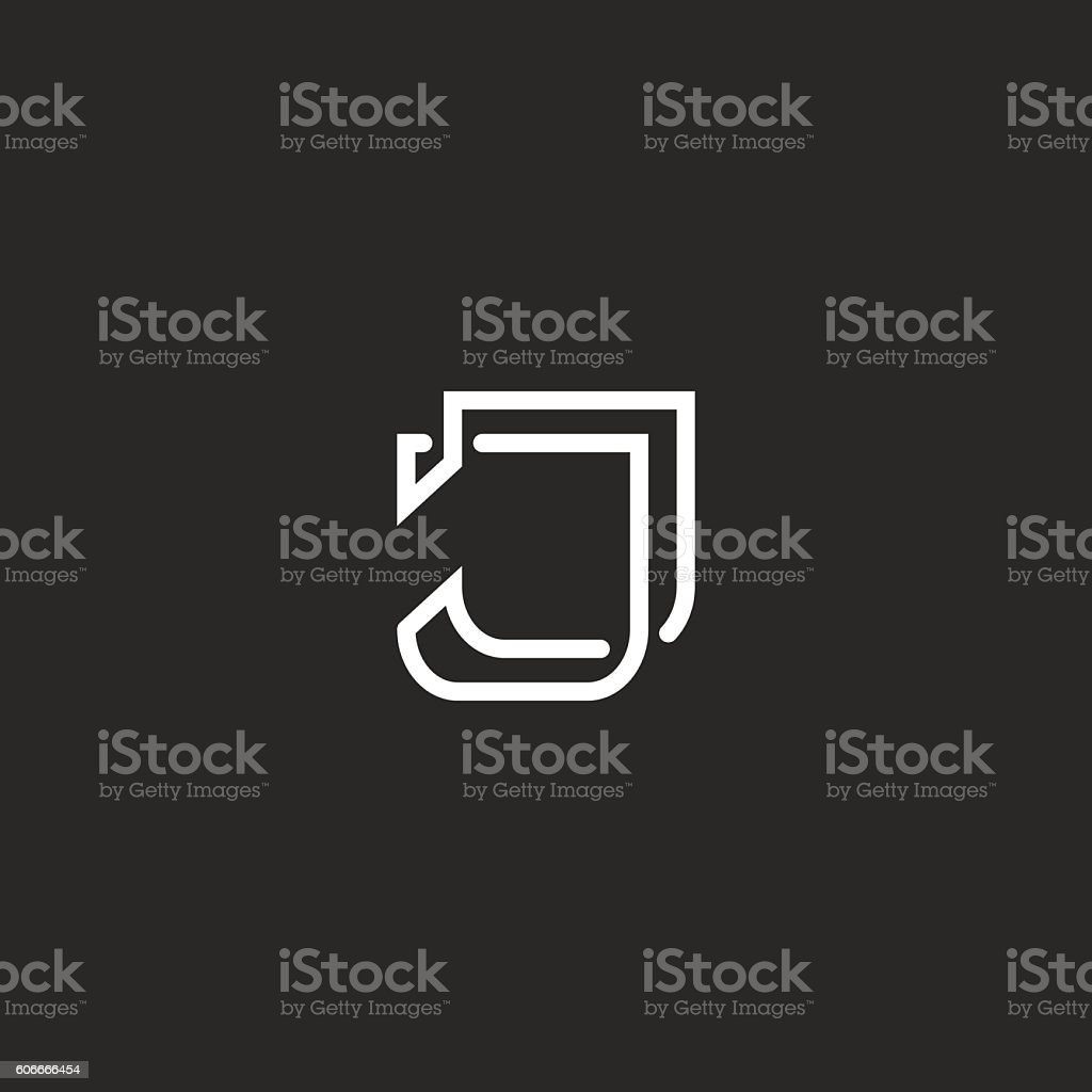 J letter logo thin line monogram vector art illustration