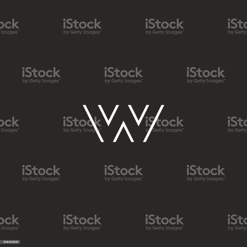 Letter logo W monogram initial, black and white hipster emblem, typography design element vector art illustration