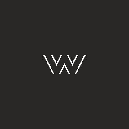 Letter Logo W Monogram Initial Black And White Hipster ...