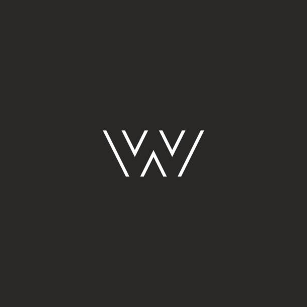 Letter logo W monogram initial, black and white hipster emblem, typography design element Letter logo W monogram initial, black and white hipster emblem, typography design element w logo stock illustrations