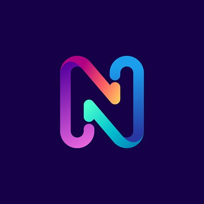 N letter logo with arrows.
