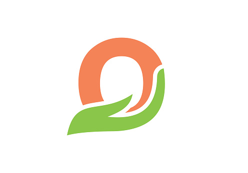 O letter logo with hand concept. O logo design