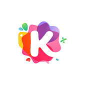 istock K letter logo with Sale icons. Overlapping watercolor negative space font. 1214099460