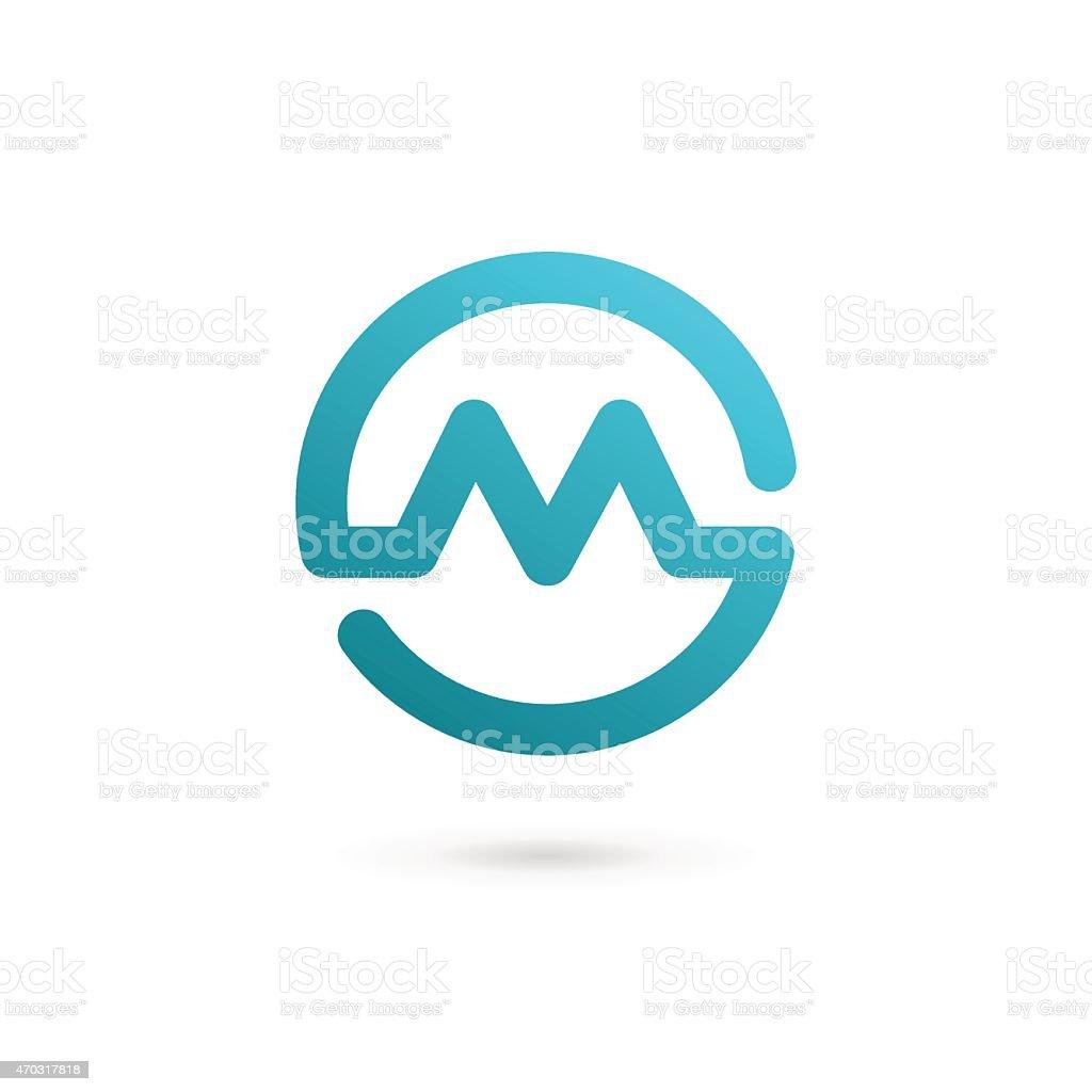 Letter M blue corporate design vector art illustration