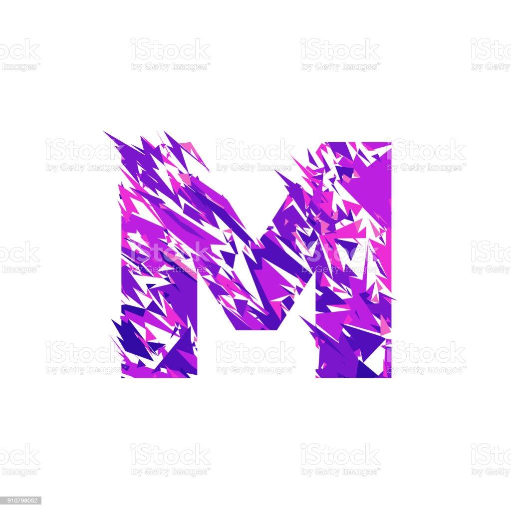 Letter M, broken into a splinters. vector art illustration