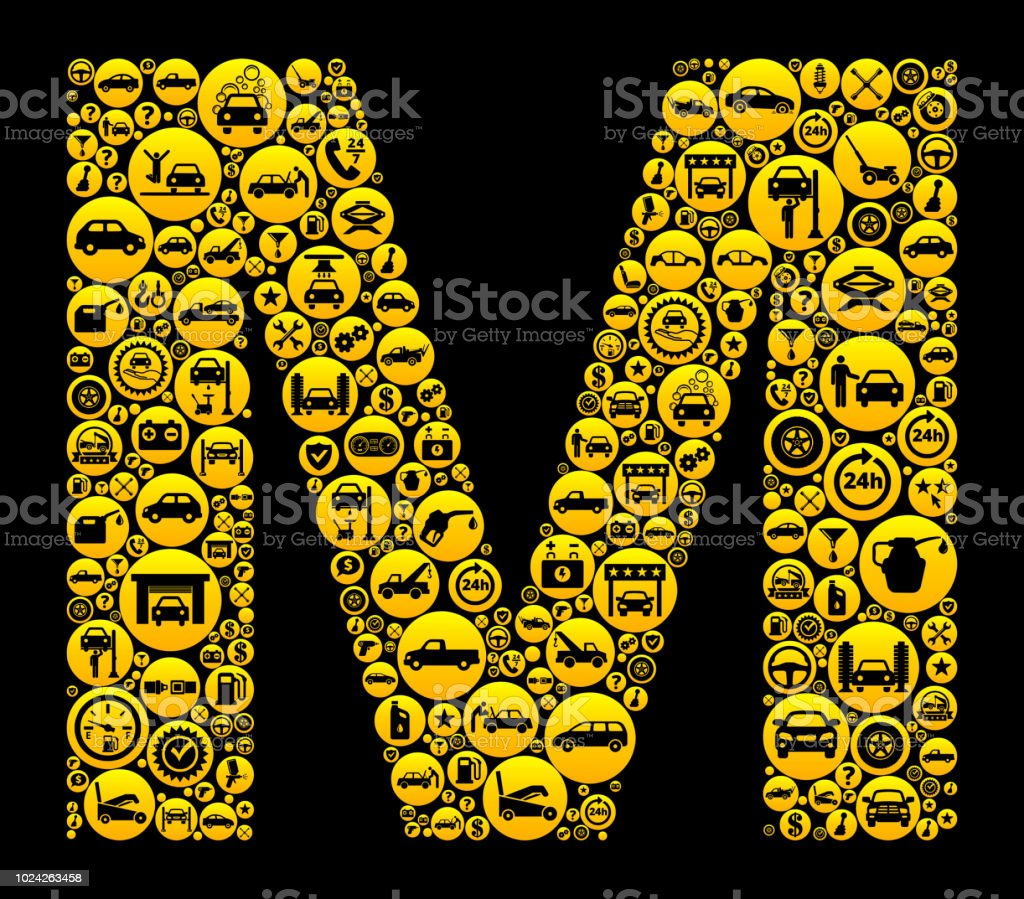 Letter M Cars And Auto Repair Icon Background Stock Vector Art