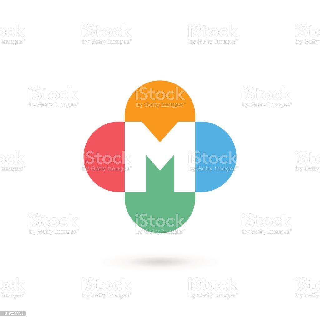文字 m クロス プラス医療ロゴ アイコンのデザイン テンプレート要素
