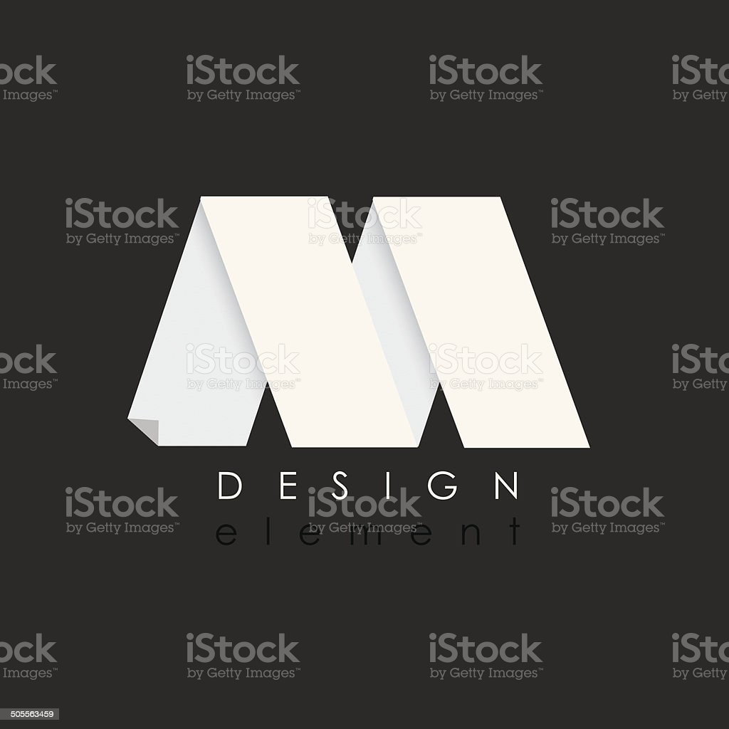 letter M design element in flat design style for business vector art illustration