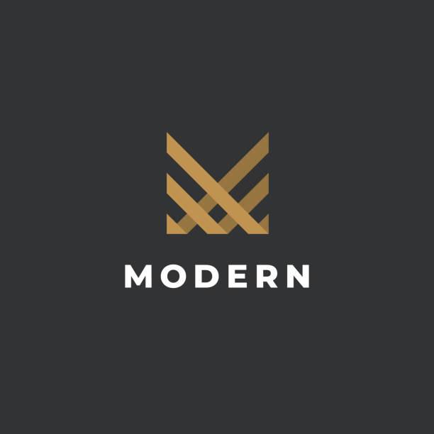 letter m emblem template. unique modern creative elegant symbol. vector icon. - alphabet symbols stock illustrations