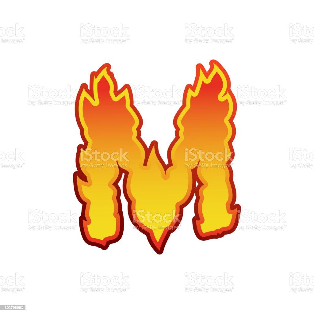 Feu De La Lettre M Lettrage De Flammes De Polices Tatouage Alphabet
