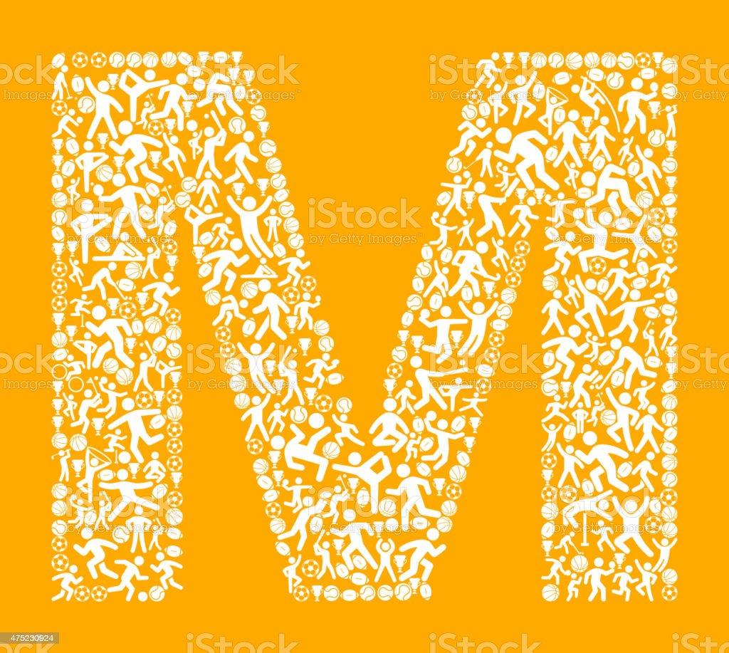 51206d713 Letra M² de esportes e academia de exercícios com padrão de vetor de fundo  ilustração de