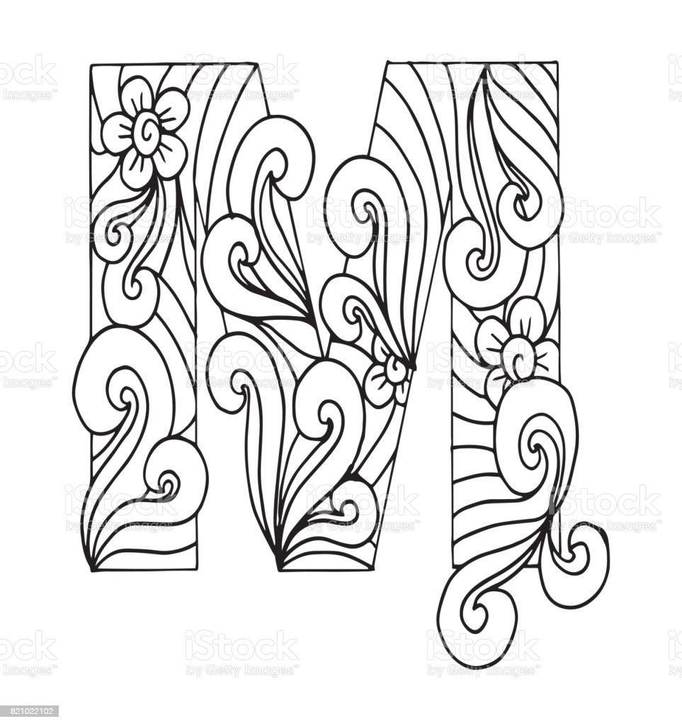 Ilustración De Letra M Para Colorear Objeto Decorativo De Vector