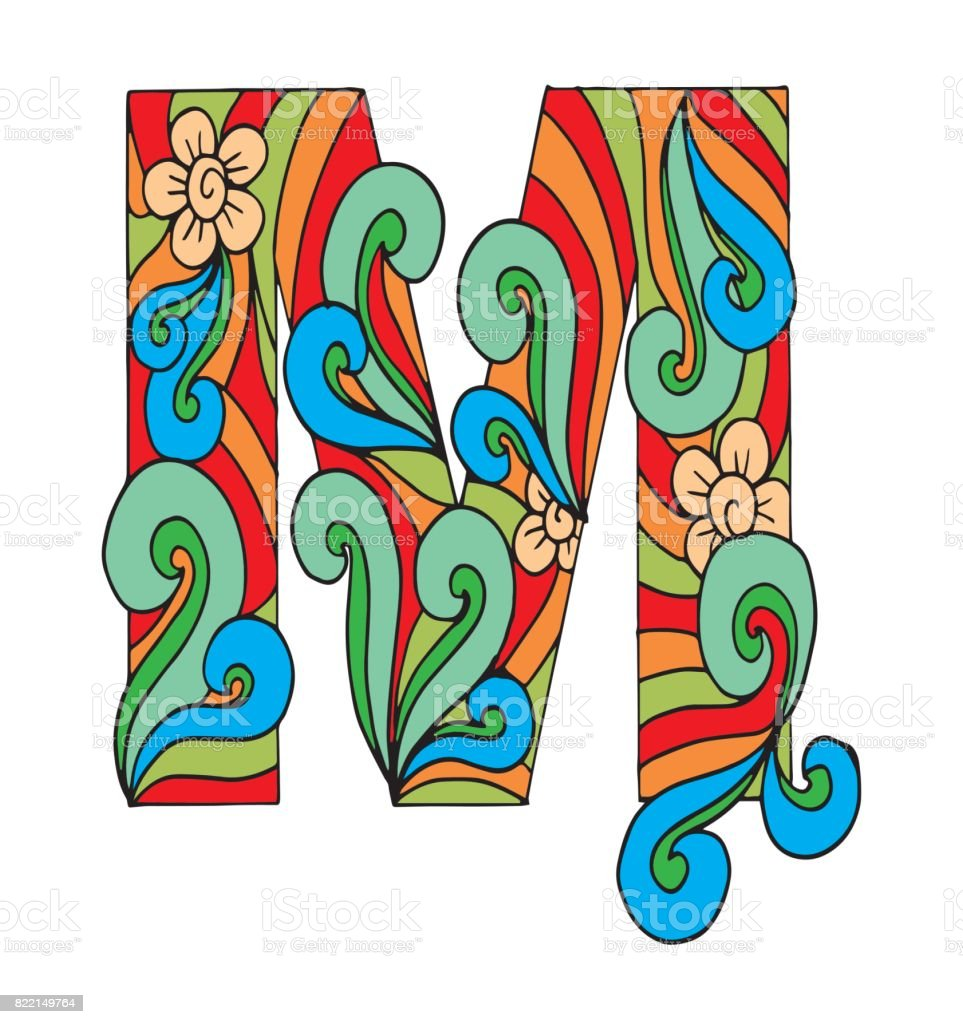 Letter M For Coloring Vector Decorative Object Illustration Computer ...