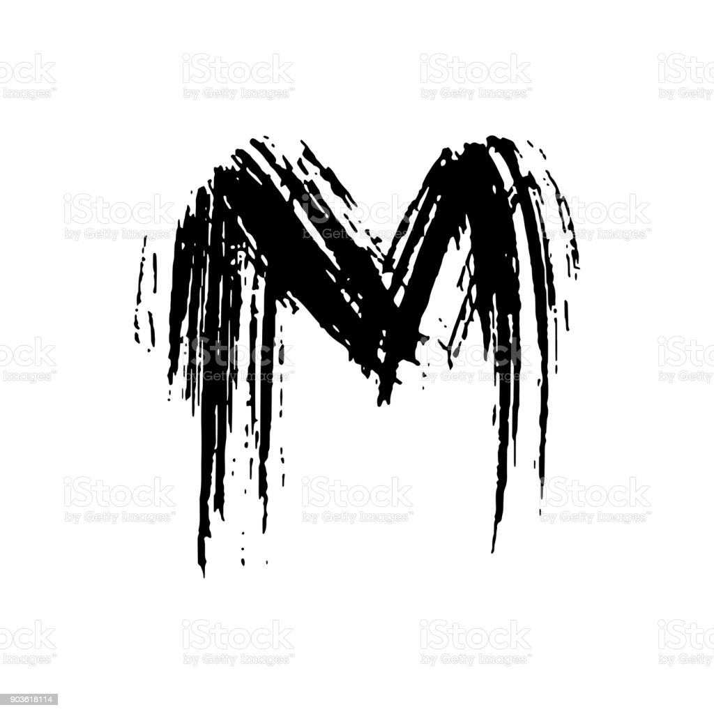 Letter M Handwritten By Dry Brush Rough Strokes Font Vector Illustration Grunge