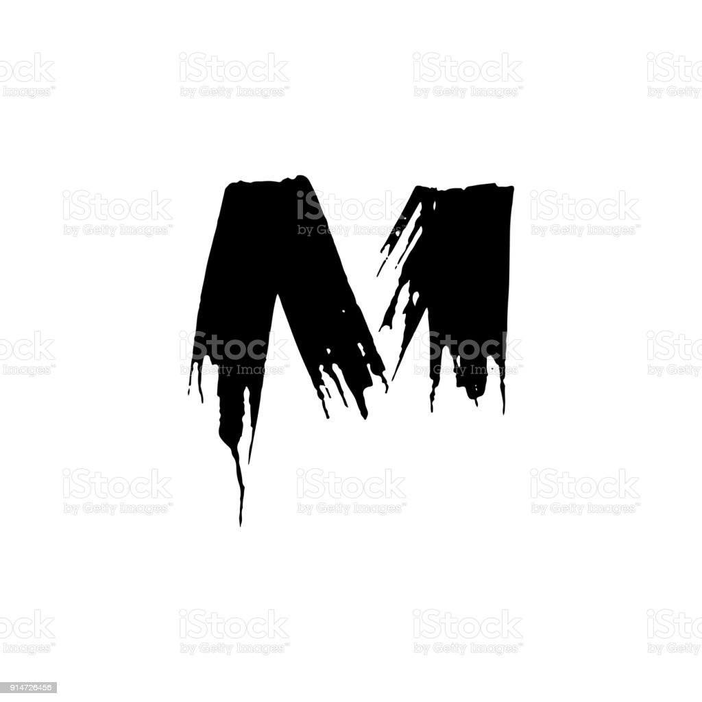 Letter M Handwritten By Dry Brush Rough Strokes Font Vector