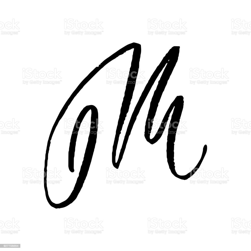 Letter M Handwritten By Dry Brush Rough Strokes Textured Font Vector Illustration