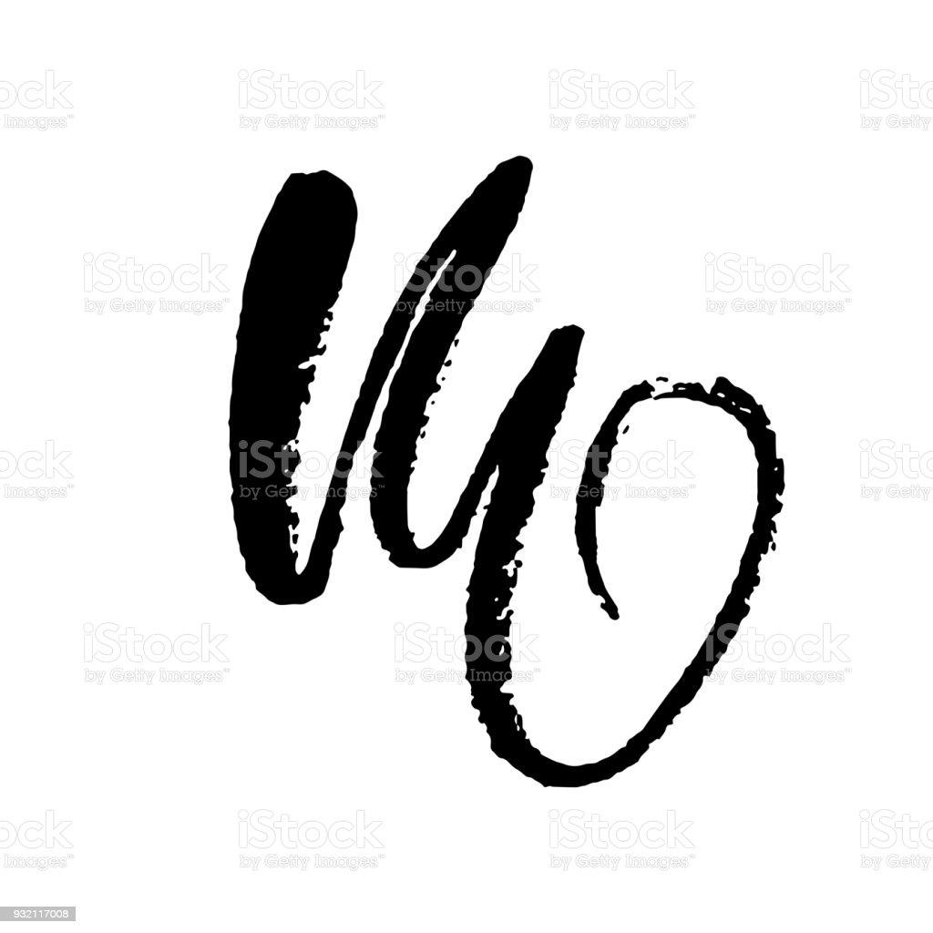 Letter M Handwritten By Dry Brush Rough Strokes Textured Font Vector Illustration