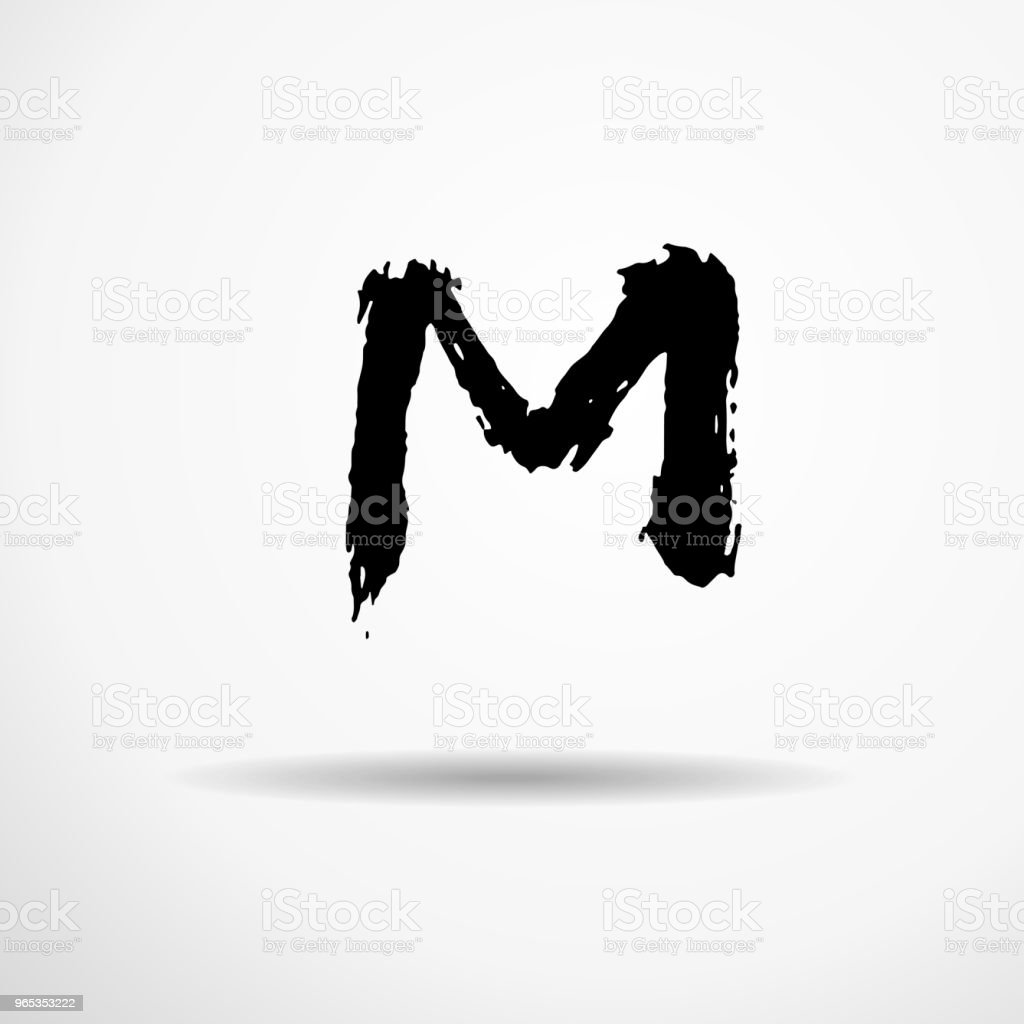 Letter M. Handwritten by dry brush. Rough strokes textured font. Vector illustration. Grunge style alphabet. royalty-free letter m handwritten by dry brush rough strokes textured font vector illustration grunge style alphabet stock vector art & more images of alphabet