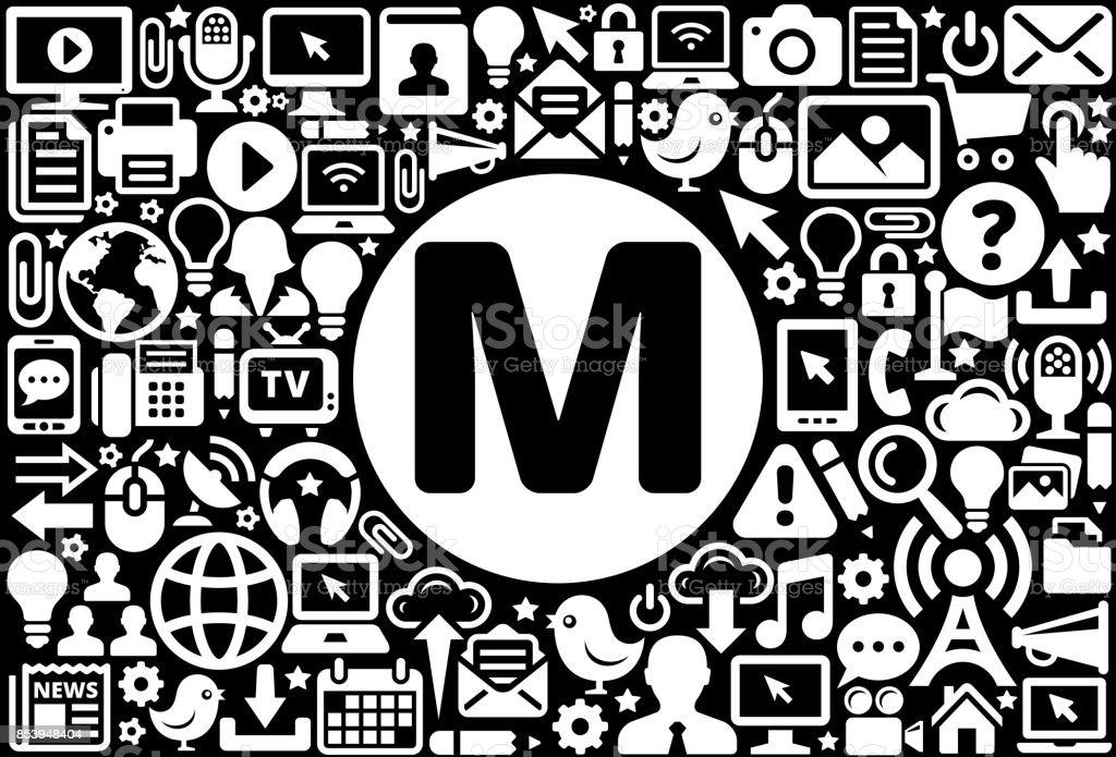 eff3abb99bdc Letra M icono blanco y negro fondo de tecnología de Internet ilustración de  letra m icono