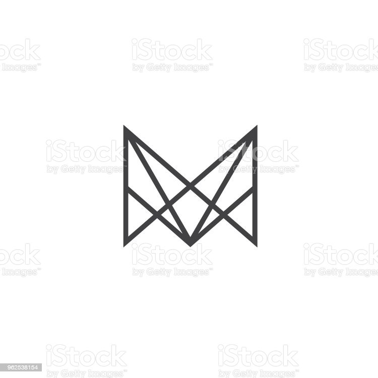 Letter M Icon Polygonal Symbol Design Template Sign Type Stock