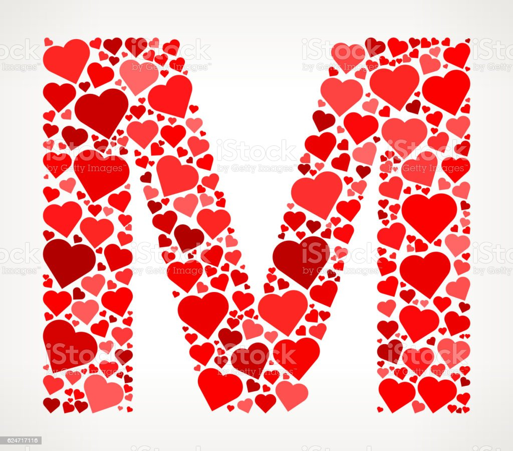 Letter M Icon With Red Hearts Love Pattern Stock Vector Art & More ...