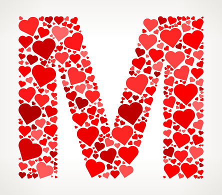 Letter M Icon with Red Hearts Love Pattern