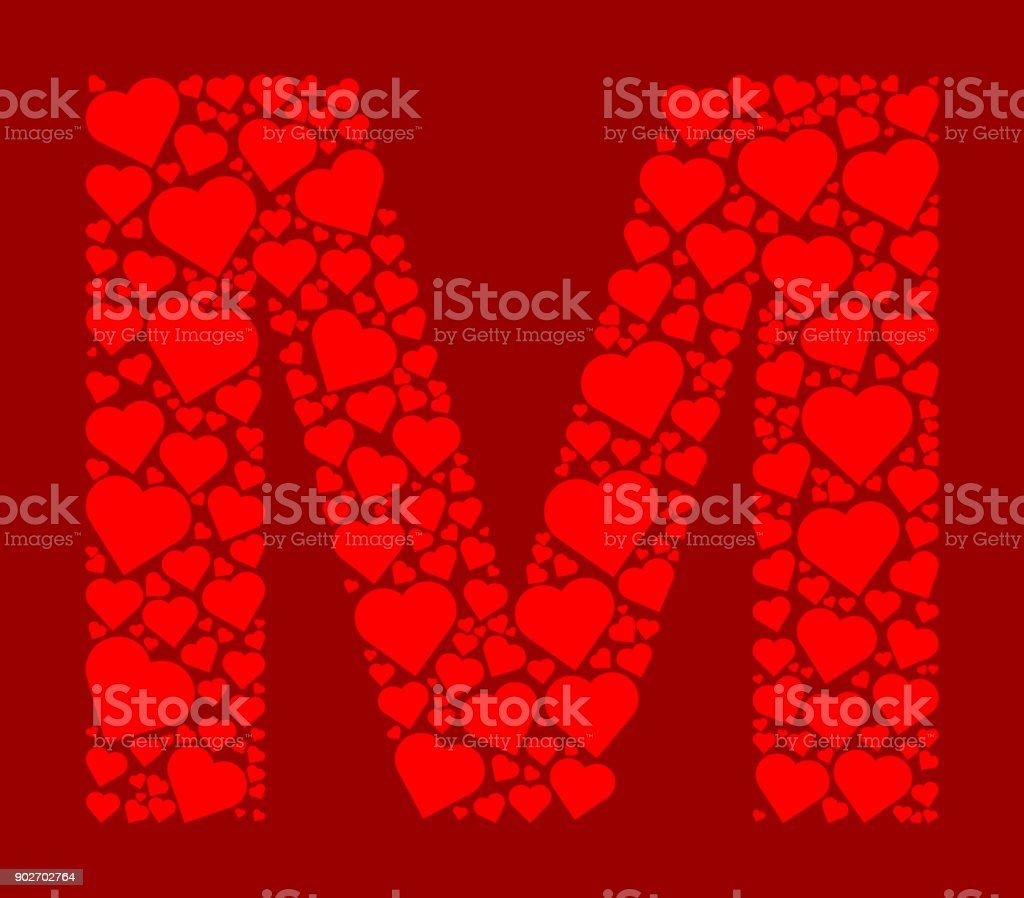 Letter M Icon With Red Hearts Love Pattern Royalty Free Stock Vector Art