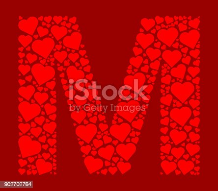 Letter M Icon With Red Hearts Love Pattern Stock Vector Art 902702764