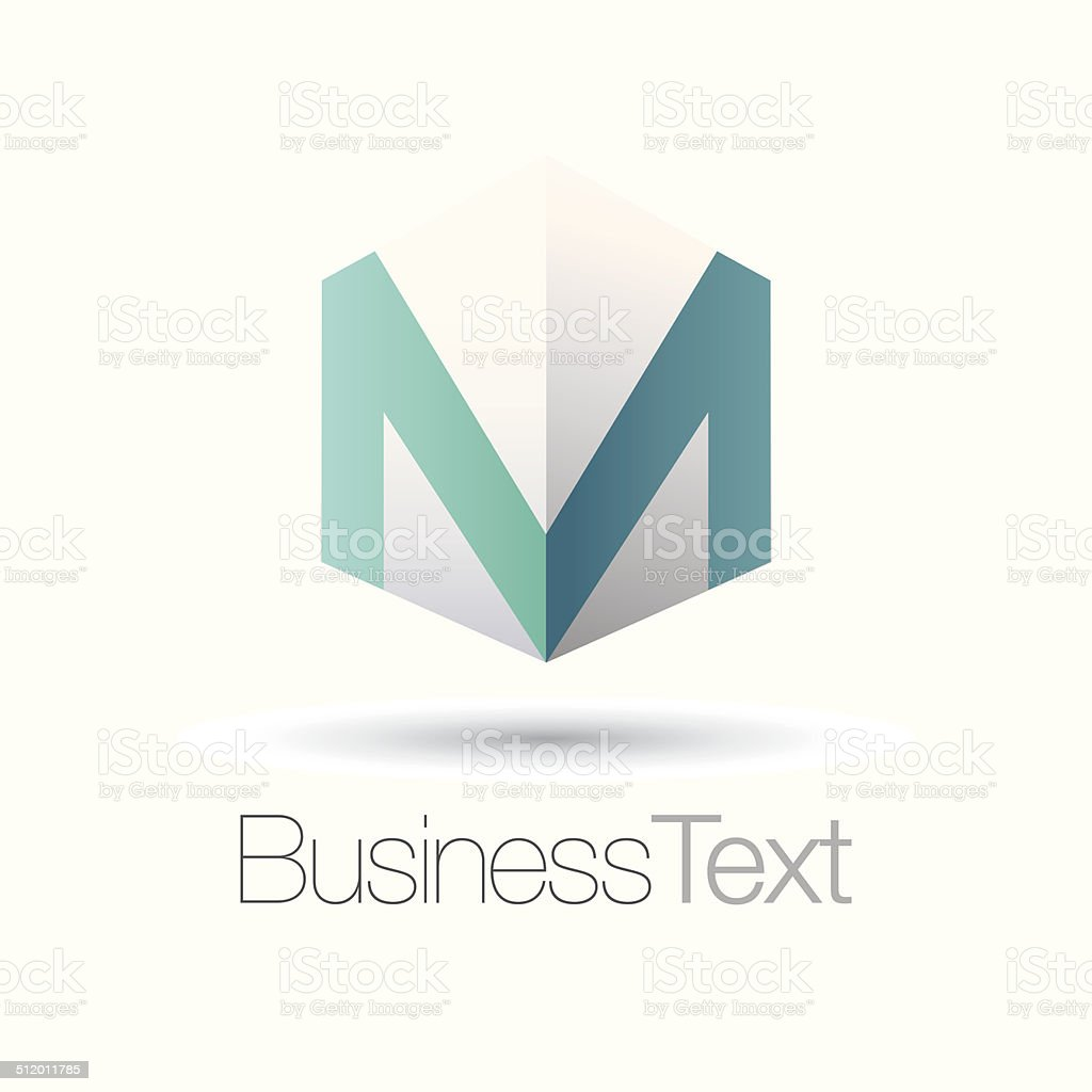 Letter M in a box vector art illustration