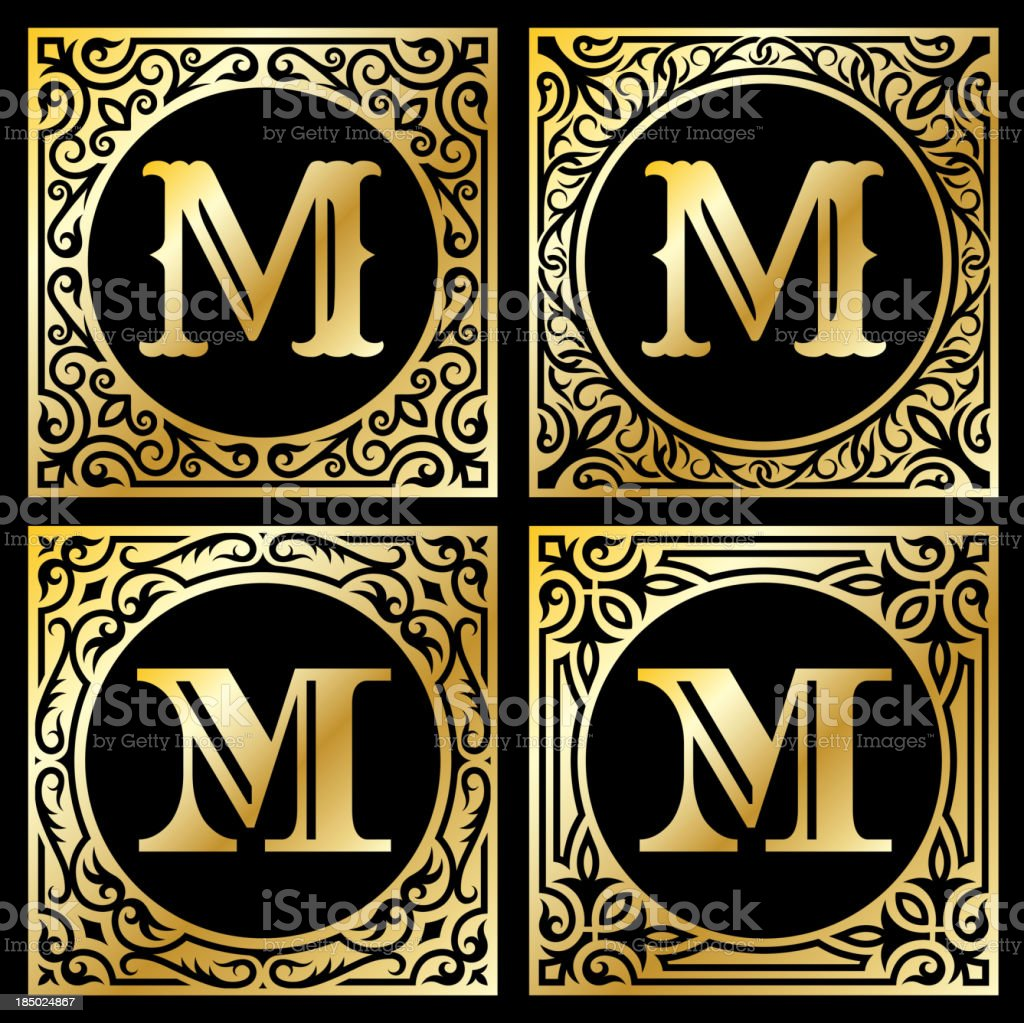 Letter M in Golden Frame royalty-free stock vector art
