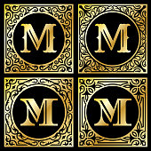 Letter M in Golden Frame