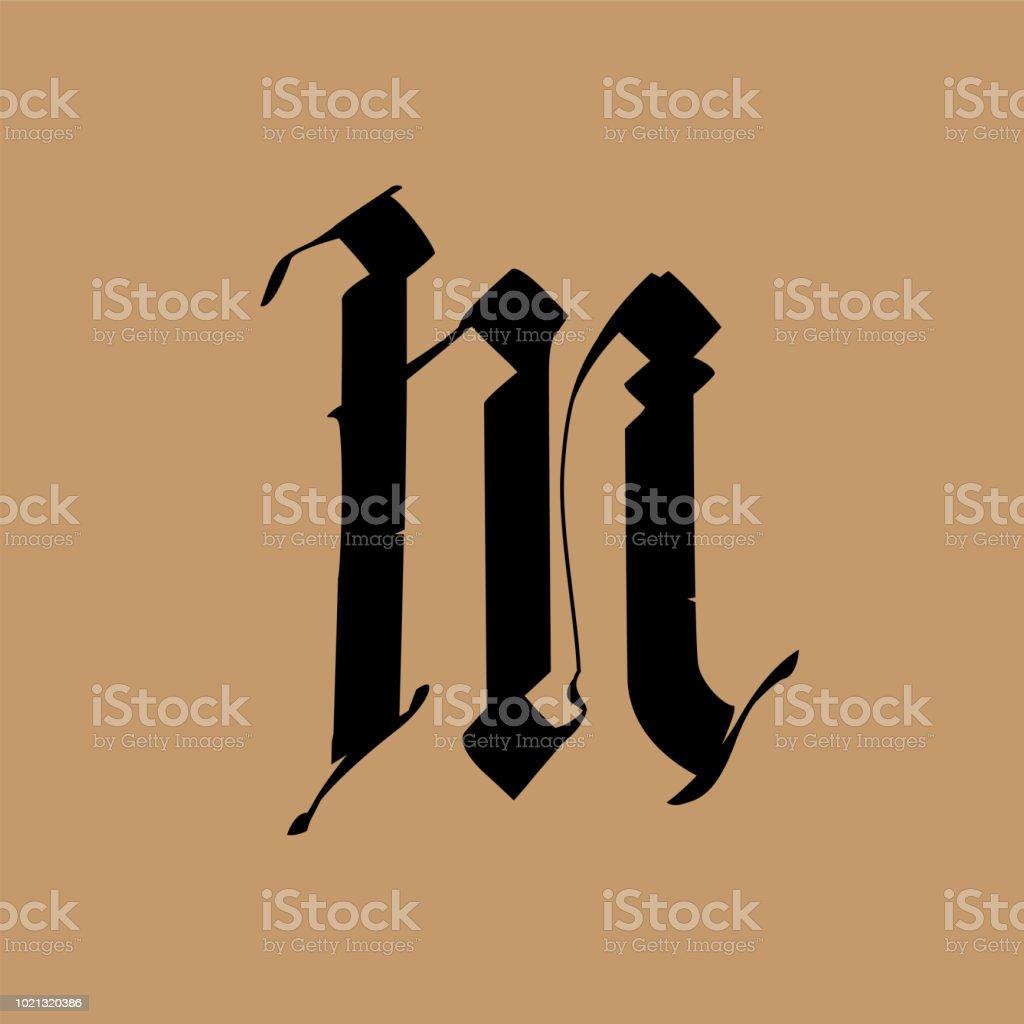 Lettre M Dans Le Style Gothique Vector Alphabet Le Symbole Est Isole