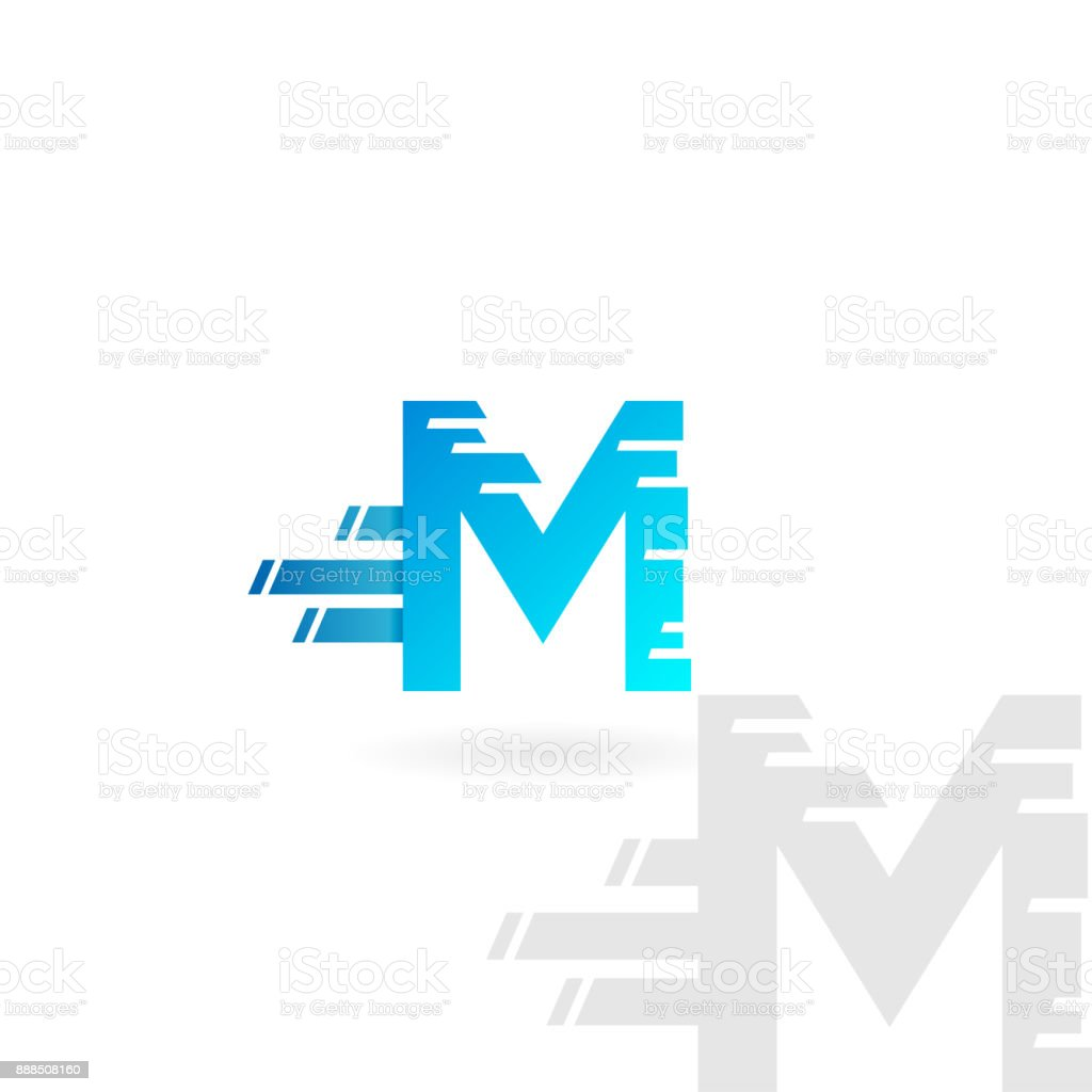 Letter M Logo Blue Distorted Vector Icon Speed Concept Font Stock