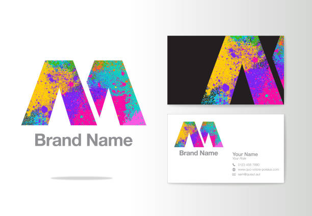 letter m logo design or corporate identity - business cards templates stock illustrations