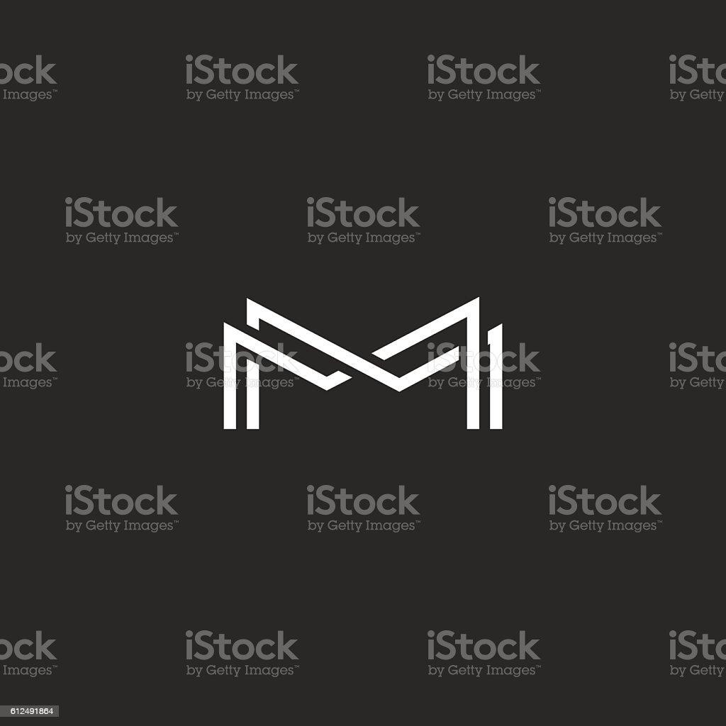 Letter M monogram logo, thin line black white design element vector art illustration