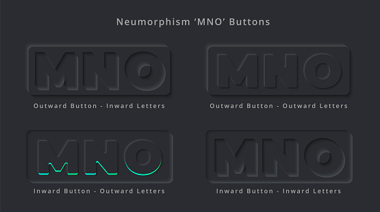 Letter M N O Skeuomorphism and Neumorphism UI Rectangle Button Design of Elegant Modern 3D effect for Logo or App Thumbnail Symbol