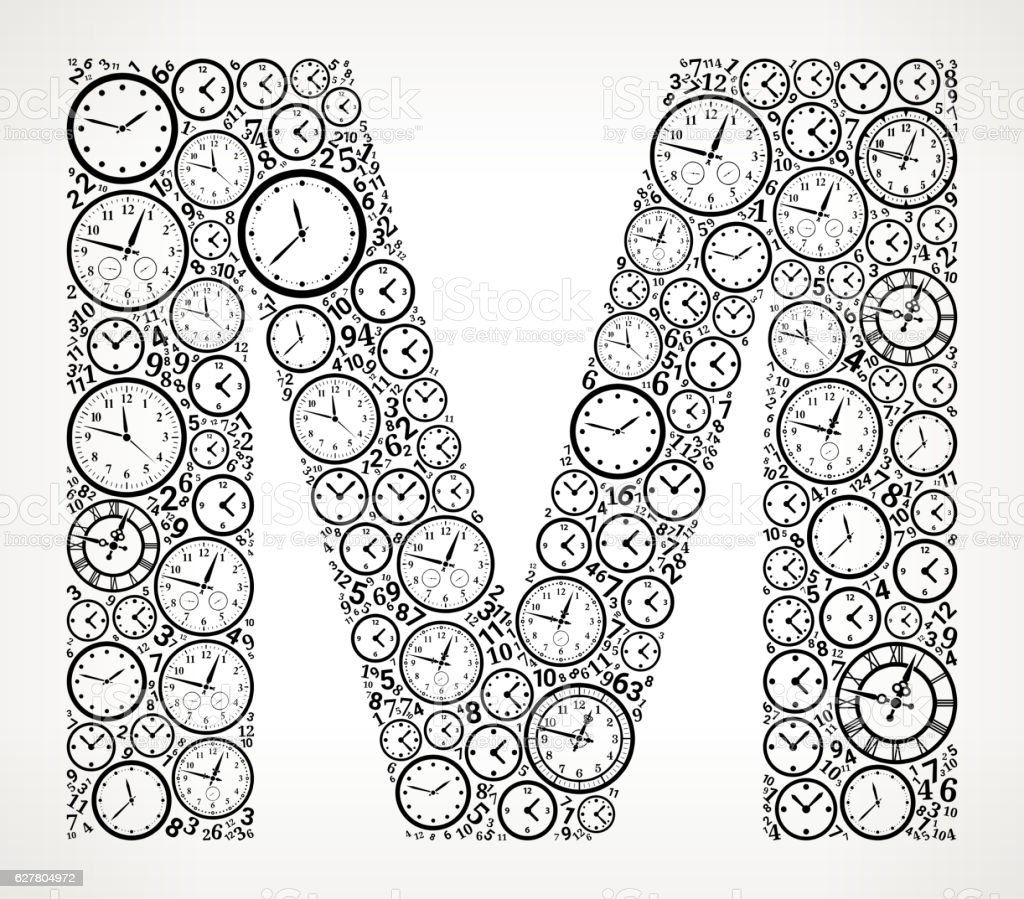 Letter M On Time And Clock Vector Icon Pattern Vektor Illustration ...