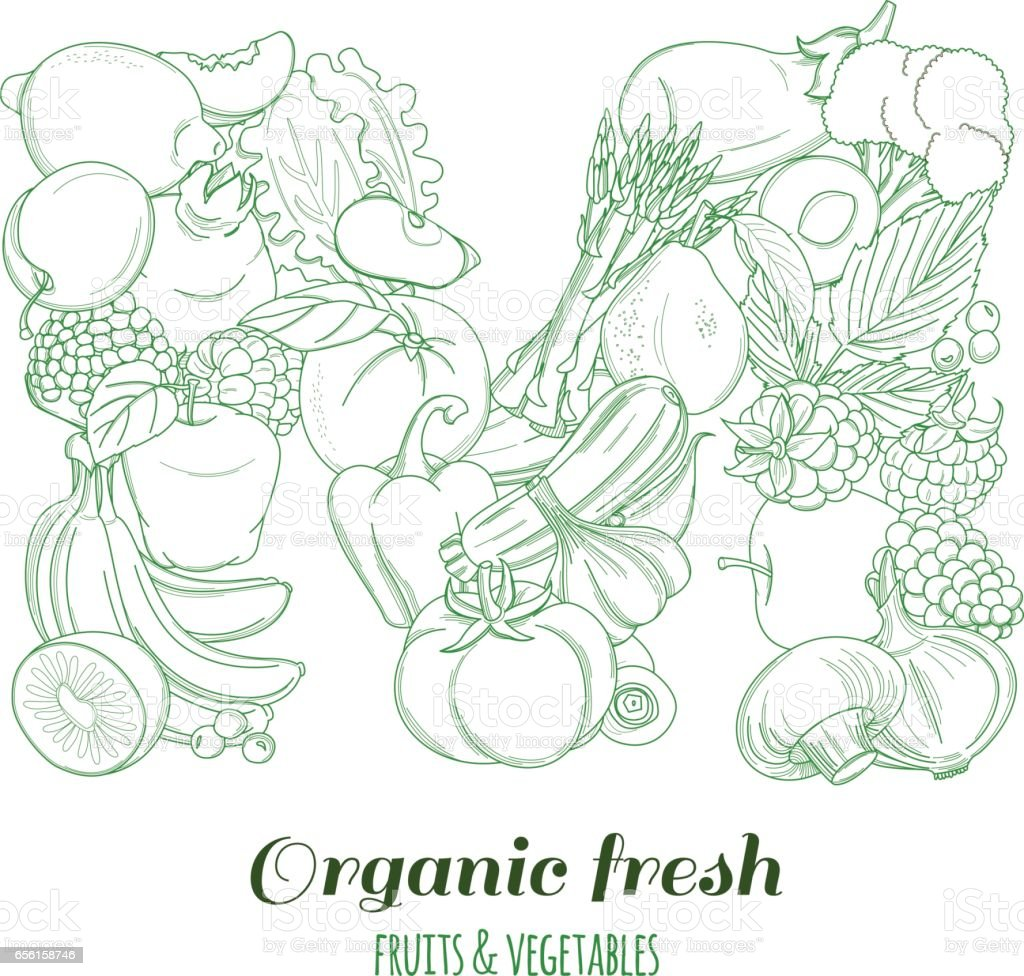 letter m pattern logo organic farm fresh fruits and vegetables