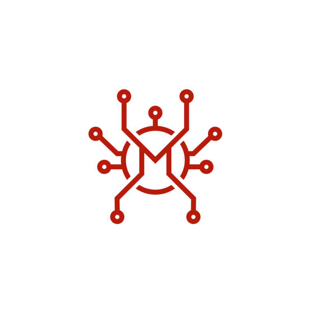 bildbanksillustrationer, clip art samt tecknat material och ikoner med bokstaven m teknik design ikon symbol vektorillustration - chain studio