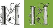 Letter M, Typo, Alphabet, Enluminure, Ornement,  Manuscrite,monogram, Rétro, Floral