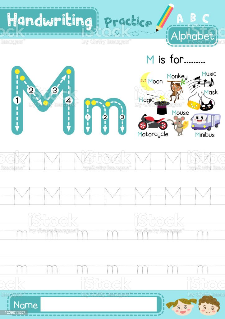 Letter M Uppercase And Lowercase Tracing Practice Worksheet A4 Stock  Illustration - Download Image Now - IStock