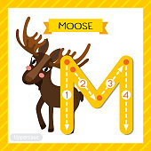 Letter M uppercase tracing. Standing Moose
