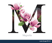 Letter M vector alphabet with magnolia flower. ABC concept type as logo. Typography design