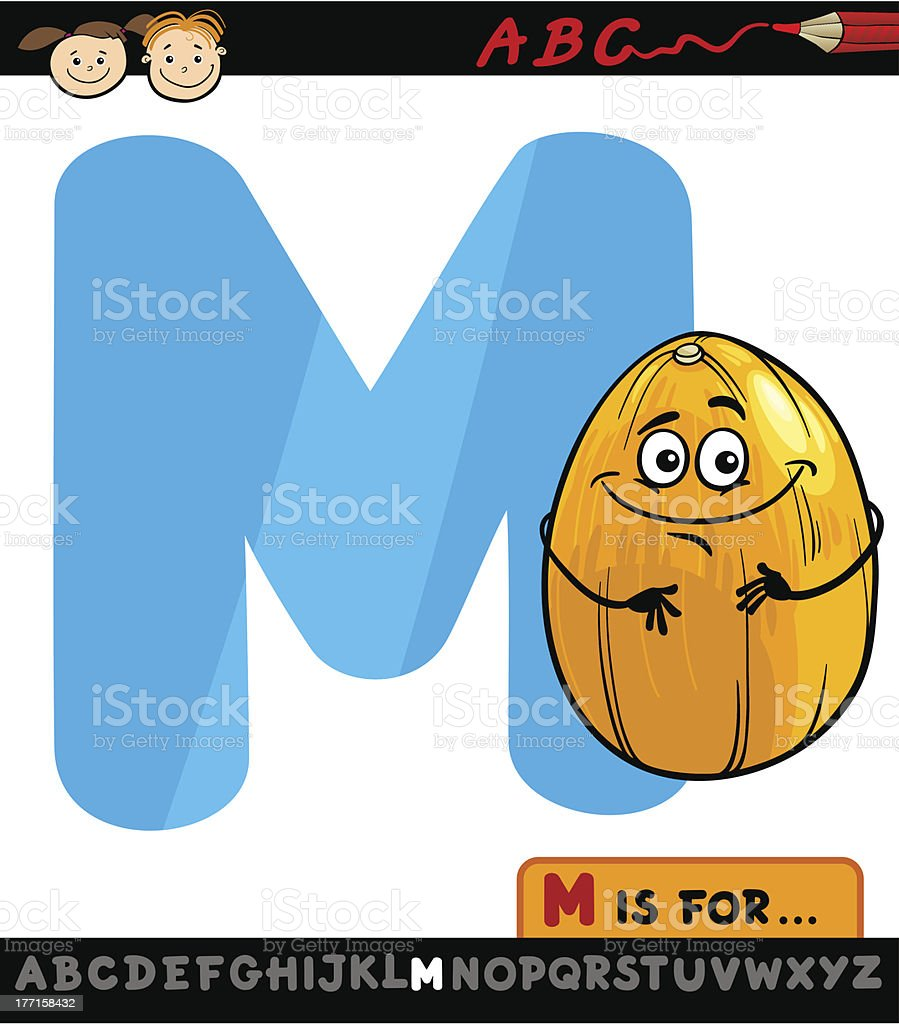 letter m with melon cartoon illustration royalty-free stock vector art