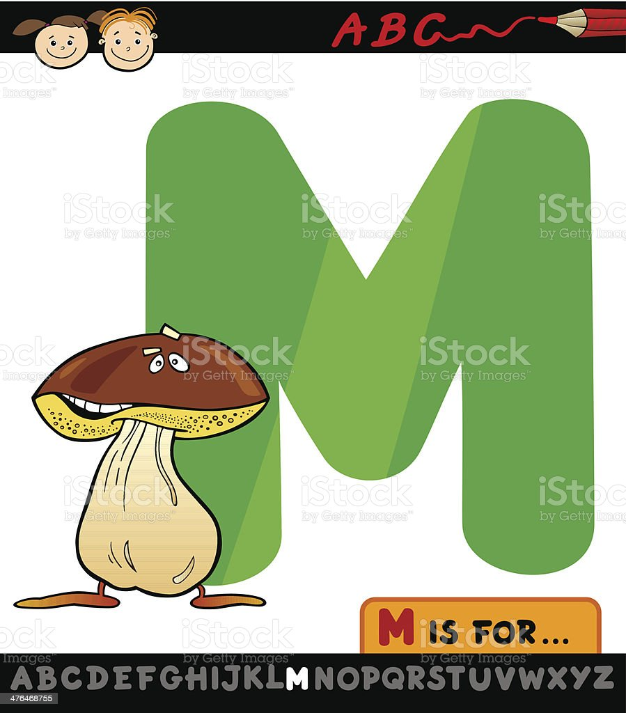 letter m with mushroom cartoon illustration royalty-free letter m with mushroom cartoon illustration stock vector art & more images of alphabet
