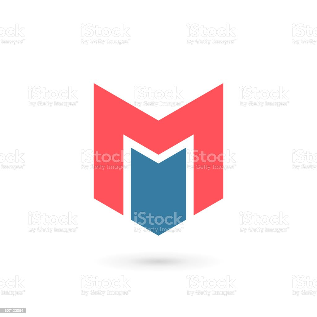Letter M with shield icon vector art illustration