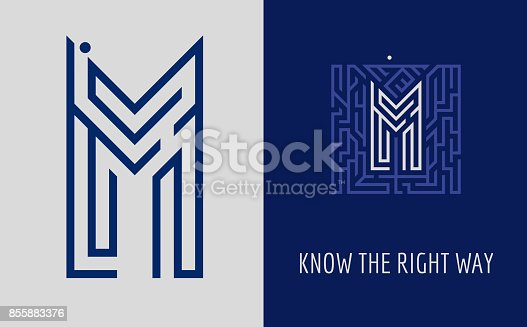 M letter maze. Creative sign  for corporate identity of company: letter M. The symbolizes labyrinth, choice of right path, solutions. Suitable for consulting, financial, construction, road companies, quests, educational schools.